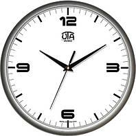 Настенные офисные часы 300Х300Х45мм [Пластик, Под стеклом] UTA-01-S-40 серебристые