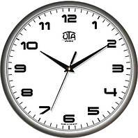 Настенные офисные часы 300Х300Х45мм [Пластик, Под стеклом] UTA-01-S-38 серебристые