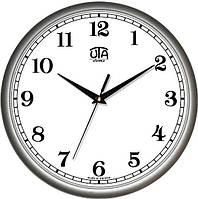 Офисные настенные часы 300Х300Х45мм [Пластик, Под стеклом] UTA-01-S-41 серебристые