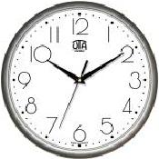 Настенные офисные часы 300Х300Х45мм [Пластик, Под стеклом] UTA-01-S-75 серебристые