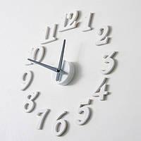 Часы клеящиеся стикеры интерьерные настенные с арабскими цифрами (диаметр 0,5 - 0,7 м) белые [Пластик]
