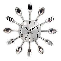 """Настенные часы на кухню """"Ложки-вилки"""" столовые приборы (32х32 см) [Металл] Best Time"""