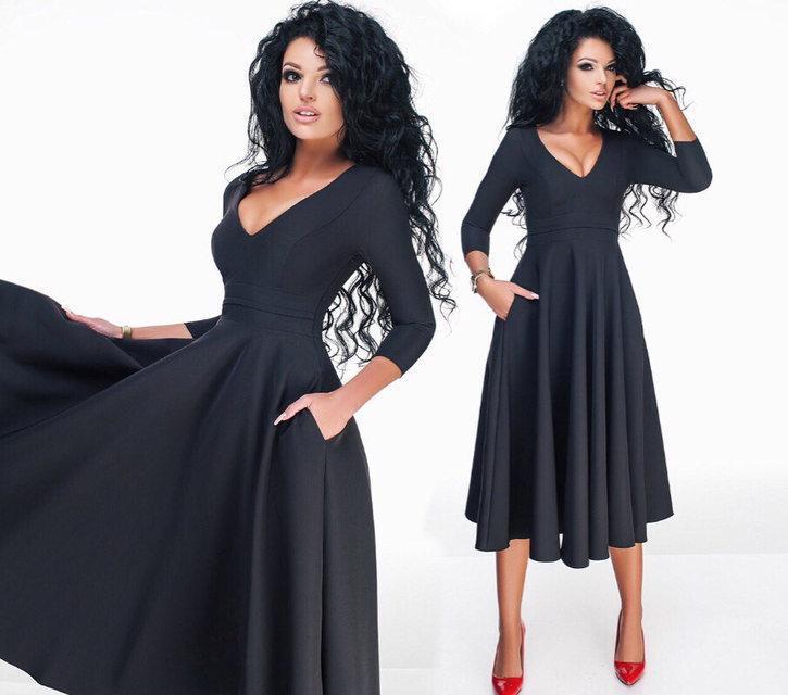 52290dfc2e6 Купить Платье-миди женское с пышной юбкой (К16065)  ...  в Украине