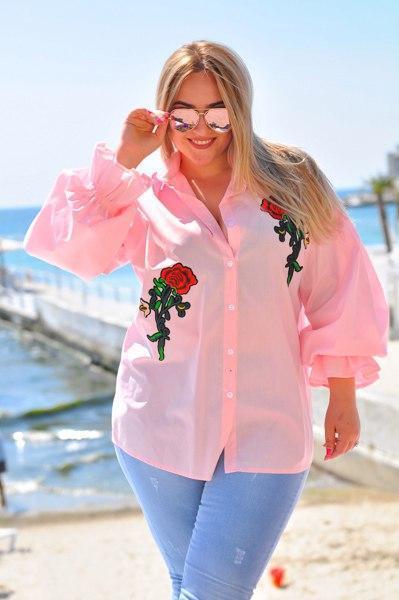 Рубашка женская на пуговицах с вышивкой батал (К17337)