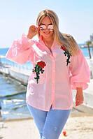 Рубашка женская на пуговицах с вышивкой батал (К17337), фото 1