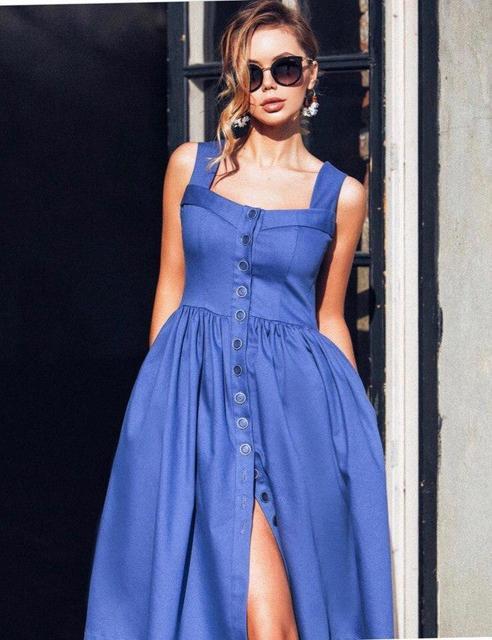 3760d492943 Летний джинсовый сарафан на пуговицах (К17571) - DESEO BOUTIQUE.  Оптово-розничный магазин