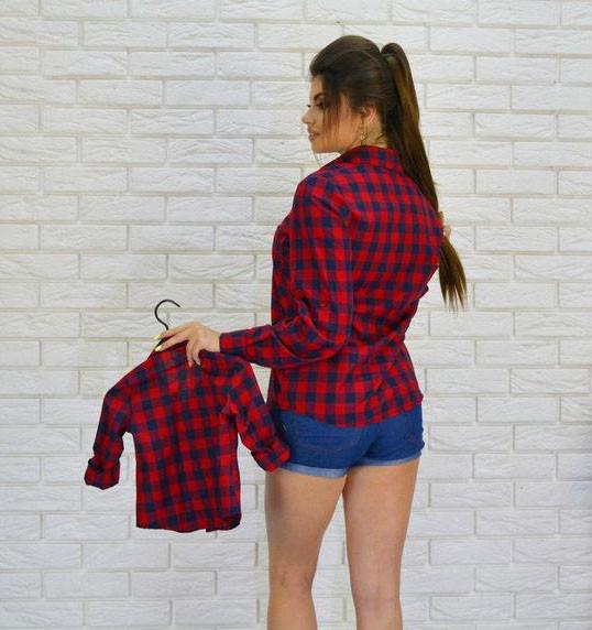 011392308f5 Купить Рубашка женская в клетку мама+дочка (К17579)  ...  в Украине