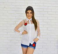 Нарядная женская блуза с вышивкой «Роза» (К17598), фото 1