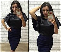 Стрейчевая джинсовая юбка-карандаш (К17759)