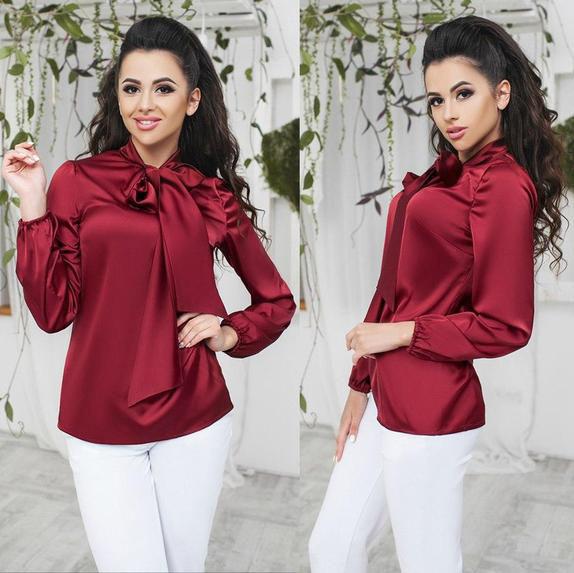 c0aca28eb5a Купить Нарядная шелковая блуза с бантом (К17886)  ...  в Украине