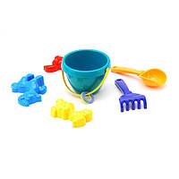 Детский песочный набор: ведерко, лопатка, грабли, три пасочки