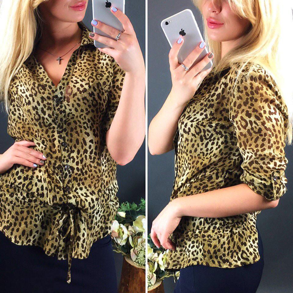Леопардовая женская шифоновая блуза (КС18052)