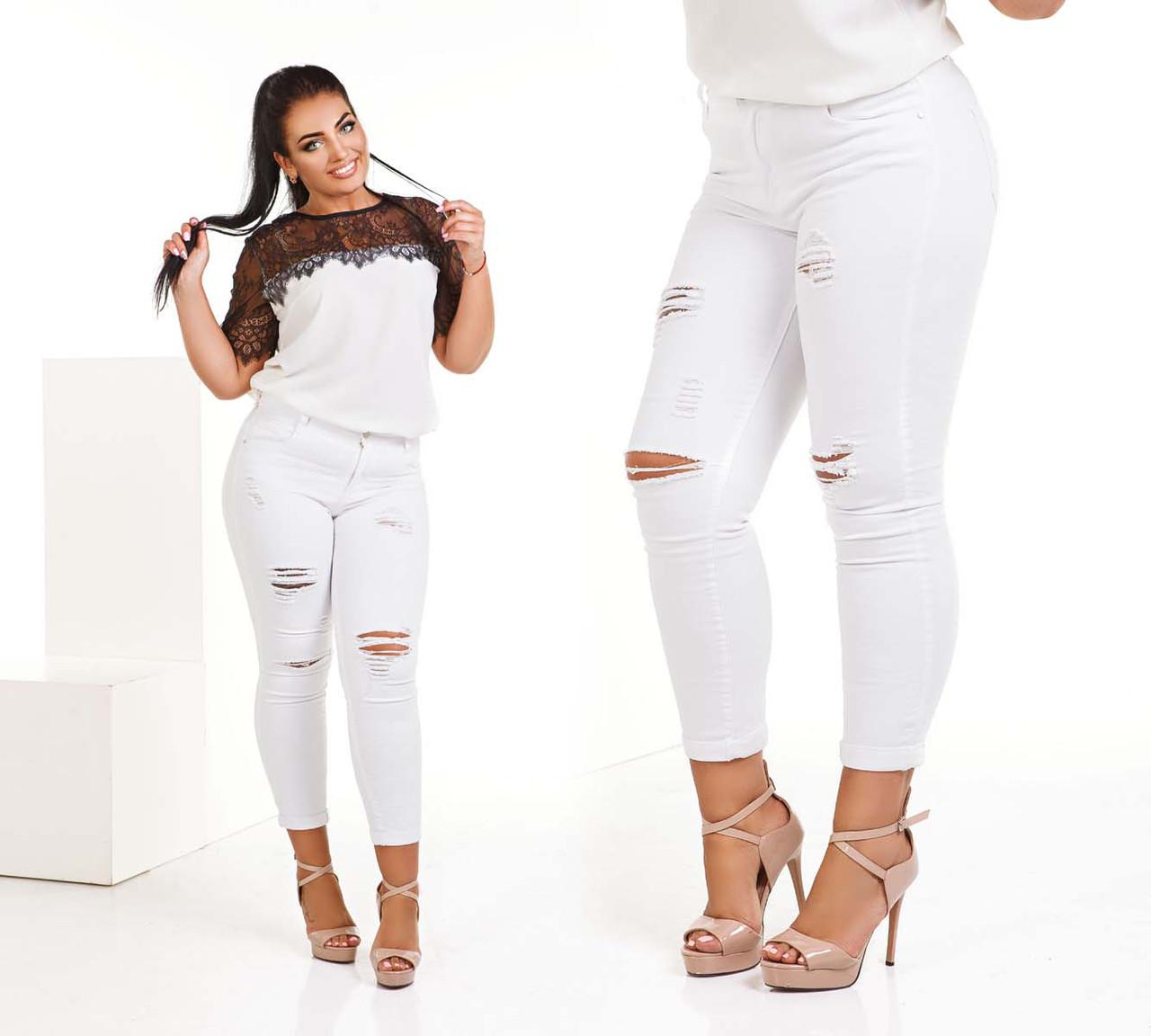 Стильные женские джинсы-капри в больших размерах 179