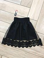 Нарядная детская юбка декорирована кружевом (К18360)