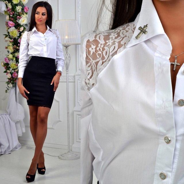 97e43974cf9 Купить Белая рубашка с гипюром (К18374)  ...  в Украине