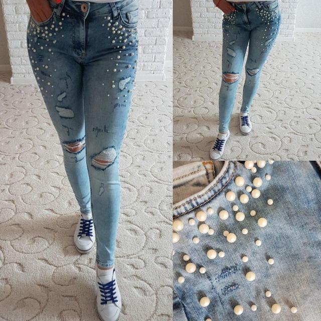 54c8d97e04a Купить Летние женские джинсы скинни декорированы жемчугом (К18391 ...