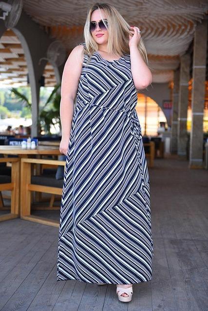 fa0b8ed2b7f128d Купить Длинное летнее платье без рукавов батал (К18394) [...] в Украине