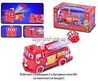 Музыкальная игрушка детская Игрушечная машинка Тачки B938A Пожарная свет, двиг лестница, в кор 18*8 см.