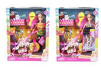 Кукла Барби 68009 2 вида,с куколкой в коляске,питомцем,расческа в коробке 27*33*6 см.