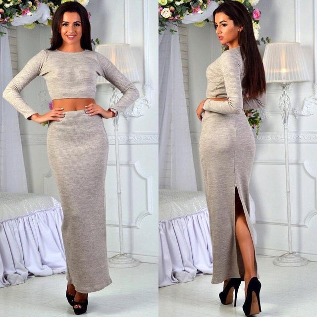 784fb022ca3 Купить Вязаный женский костюм длинная юбка (К18617)  ...  в Украине