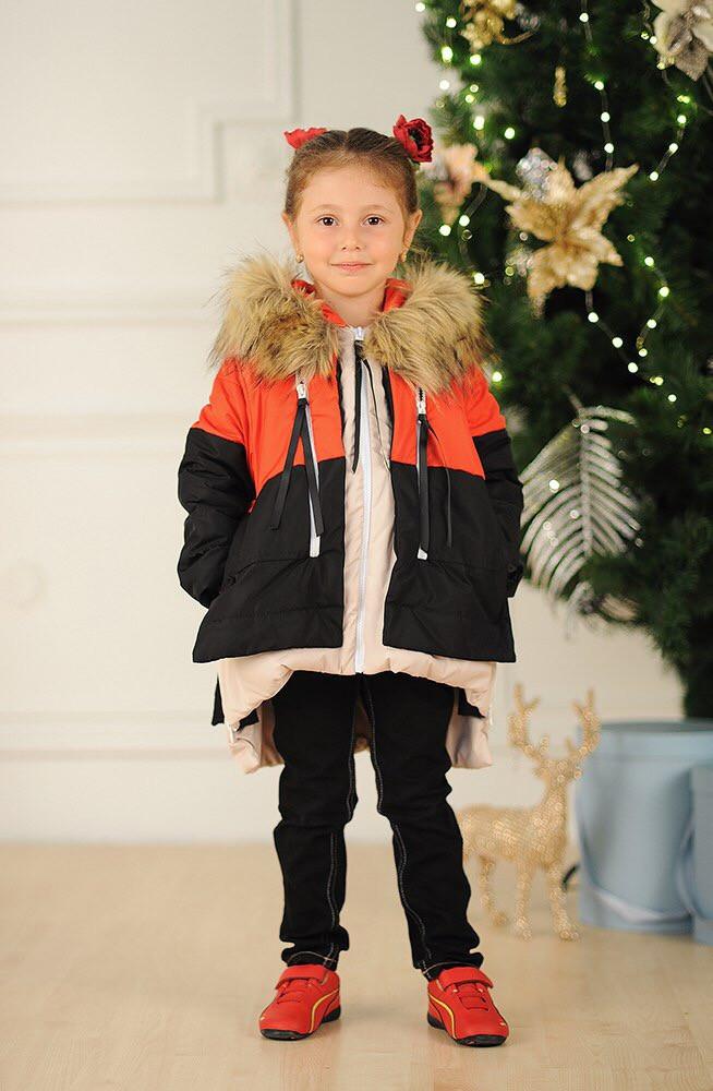 Детская куртка-трансформер с мехом енота на капюшоне (К18621)