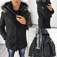 Зимняя мужская удлиненная куртка с мехом песца (К18626), фото 1