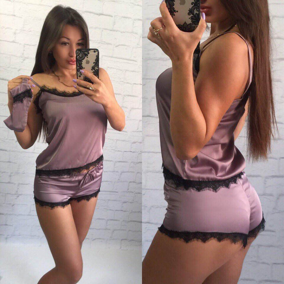 2806470db5d93 Купить Шелковая женская пижама с повязкой (К18650) [...] в Украине