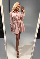 Платье-рубашка с затяжкой на талии (К18951)