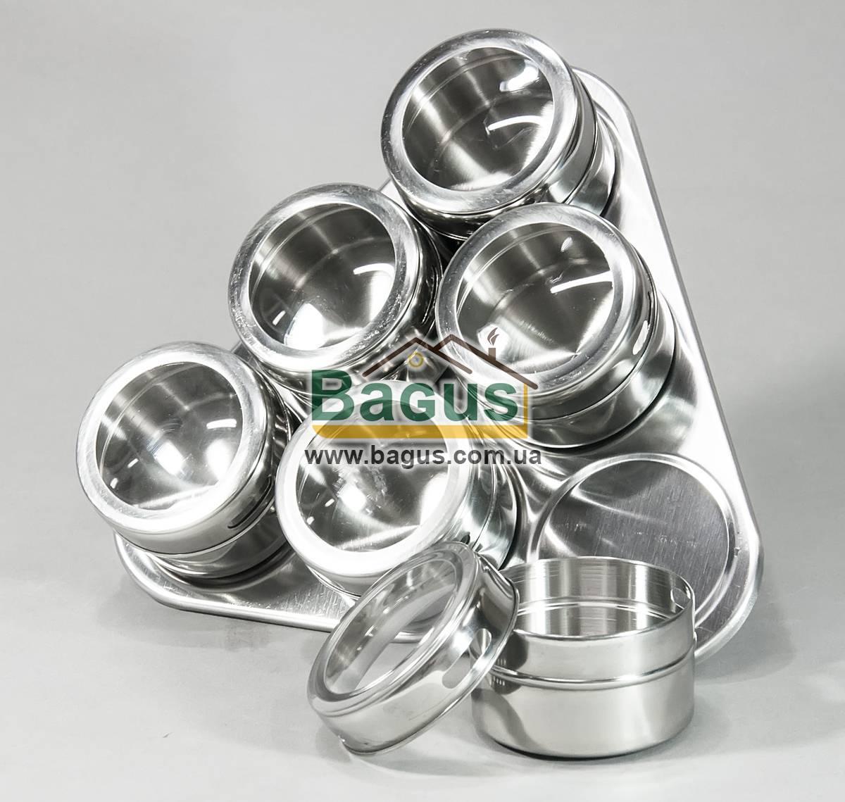 Набор емкостей для специй на магните с подставкой (6шт./наб.) Frico (FRU-458)