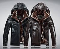 Мужская кожаная куртка на меху 2 цвета , фото 1