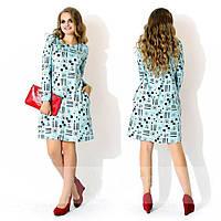 Платье женское короткое с принтом (К19198)