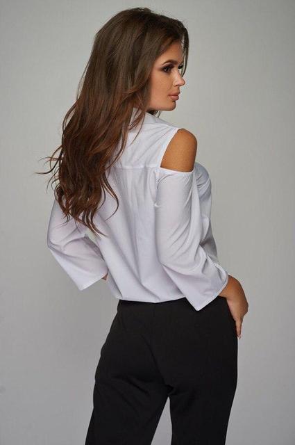 Белая женская рубашка с открытыми плечами (К19231)