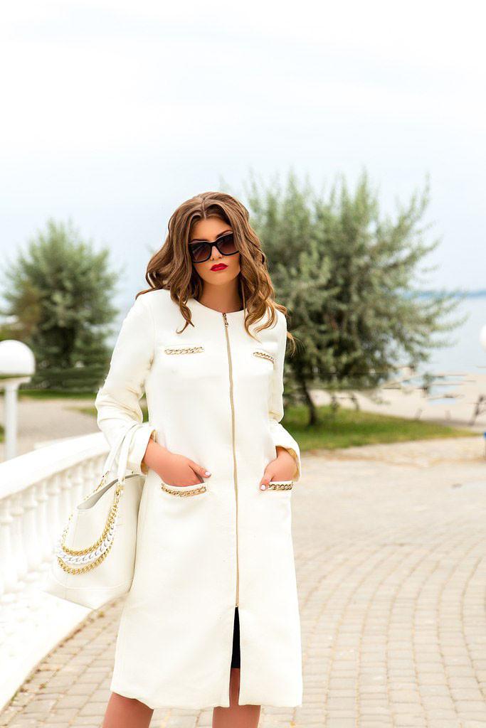 Стильное длинное кашемировое пальто на молнии (К19240)