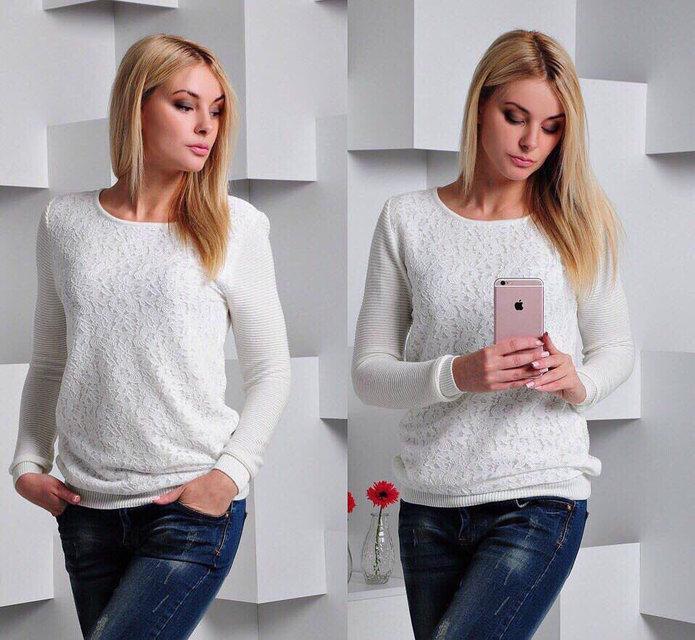 Нарядный женский вязаный свитер (К19286)