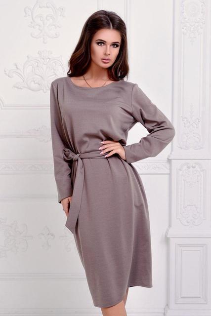 Осеннее трикотажное платье с поясом (К19572)