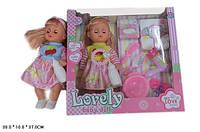 Кукла функциональная HX356-4   музыкальная игрушка детская 2 вида,6 звук,  пьет-пис,подгуз,бут,горшок,фен,расчес,зерк,коробке 38*10*37