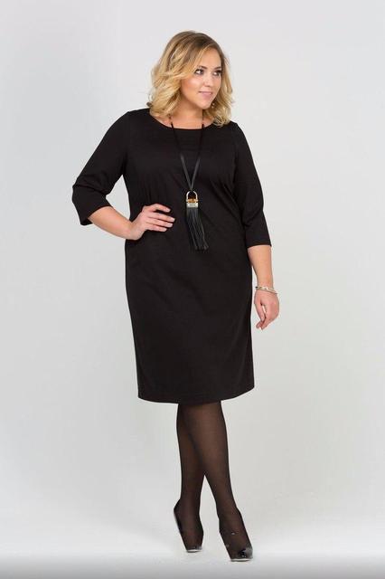 Черное платье-миди батал (К19638)