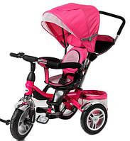 Велосипед детский 3-х колес TR16001 РОЗ  складной козырек,надувные колеса 12'' и 10''