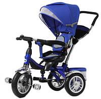 Велосипед детский 3-х колес TR16002 СИН  складной козырек,надувные колеса 12'' и 10''