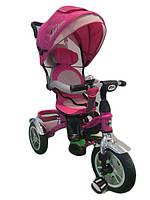 Велосипед детский 3-х колес TR17007 РОЗ  складной козырек,надувные колеса 12'' и 10''