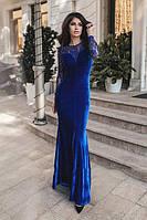 Вечернее длинное платье с гипюровыми рукавами (К19763), фото 1