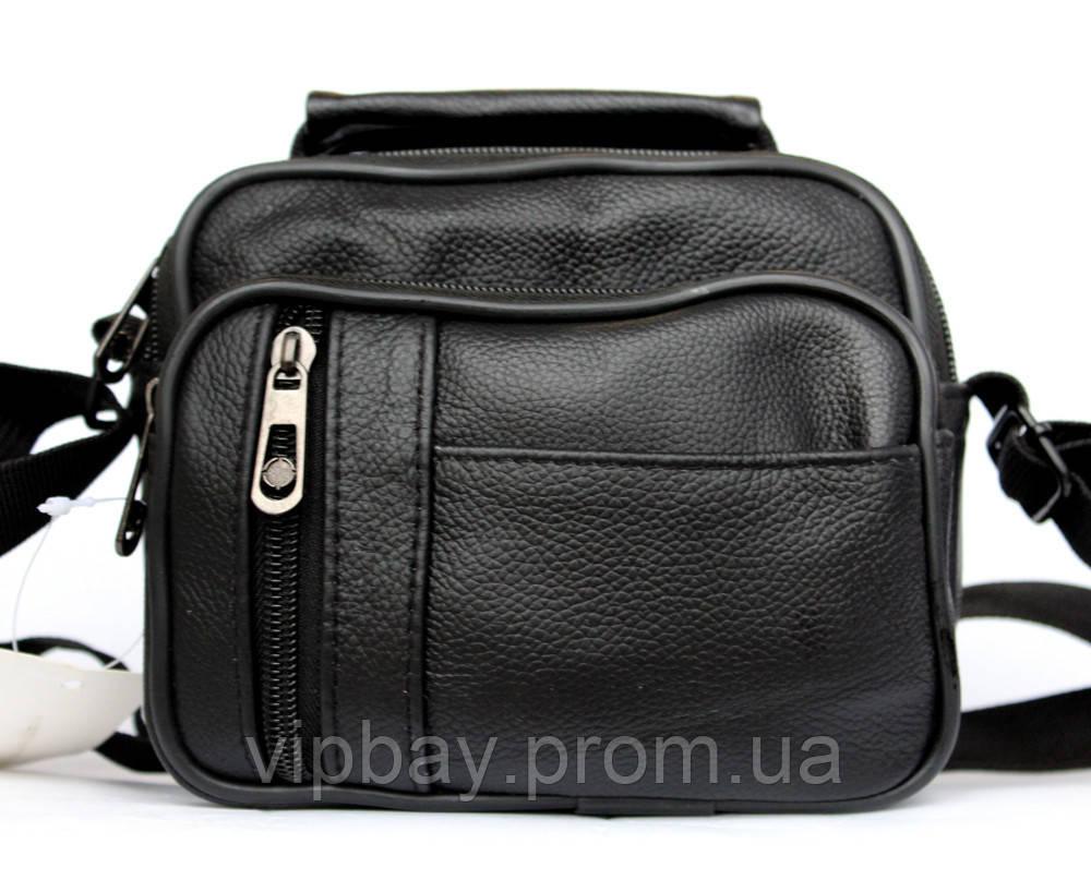 Кожаная компактная мужская сумка через плечо (5061)