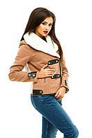 Короткое женское пальто с искусственным мехом (К19793), фото 1