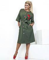 Платье-миди женское на пуговицах с аппликацией (К19800), фото 1