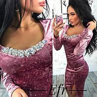 Вечернее бархатное платье с украшением (К19844), фото 1