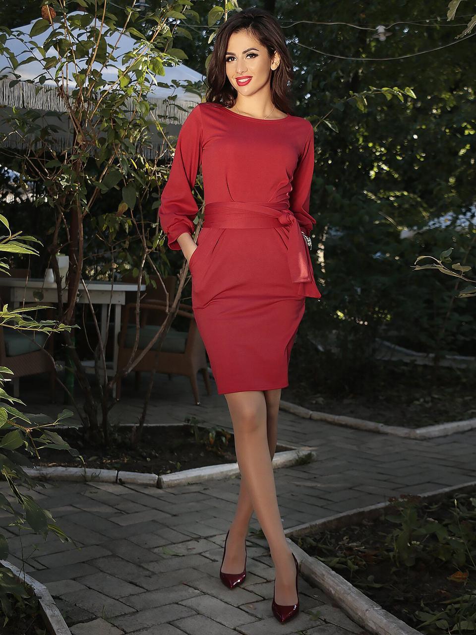 Платье женское короткое с поясом (К19904)