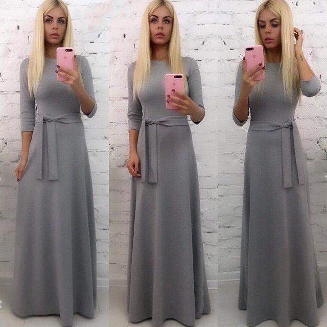 Осеннее длинное платье с поясом (К19939)