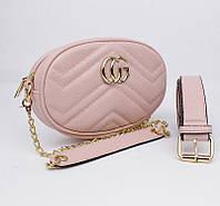Сумочка-клатч на пояс, через плечо женская кожзам пудра Gucci 20875-8, фото 1