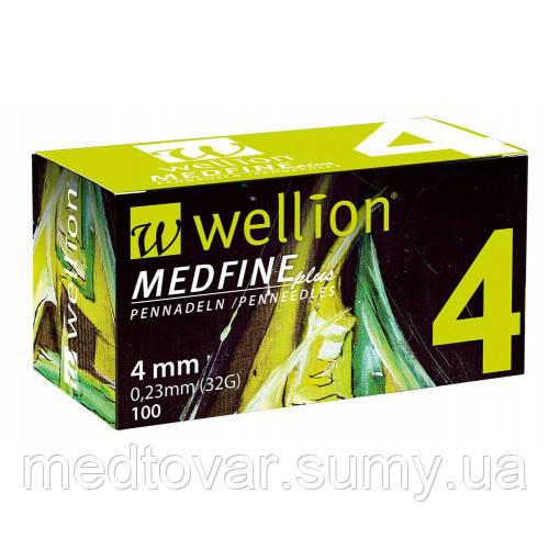 Голки для інсулінових шприц-ручок Wellion MEDFINE plus 0.25 mm (29G) x 4 мм, 100 шт