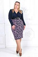 Комбинированное женское платье с глубоким декольте (К20008), фото 1